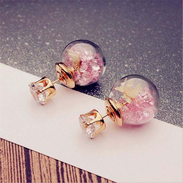 2017 Korean Fashion Women Lady Elegant Rose Glass Ball Flower Rhinestone Metal Stud Earrings For Women Jewelry Earring Set  5