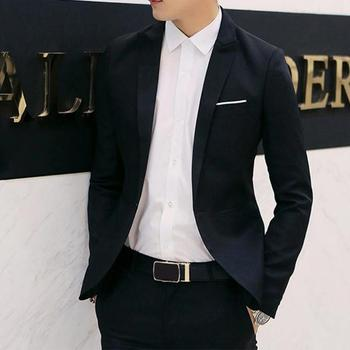 Casual Blazers Slim Fit Formal Business Single Breasted Button Suit Blazer