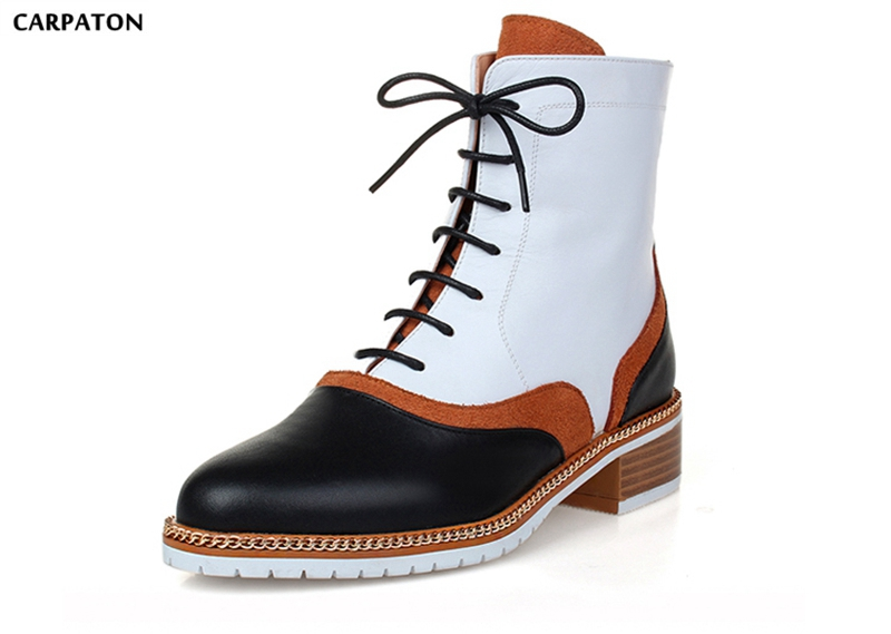 Carpaton 2018 New PU Leather Sanding Stitching Mixed shoes Fashion Ankle Straps Square Heels Round Toe Women Short Boots