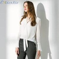 Enbeautter Для женщин Трубы рукавом Шифоновая блузка с длинным рукавом висит Средства ухода за кожей шеи белая элегантная офисная одежда V-вырез ...