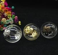 100 sets 30mm due fori globo di vetro bolla fiore cap set monili della collana del pendente bottiglia di vetro della cupola di copertura flaconcino di Vetro FAI DA TE charms