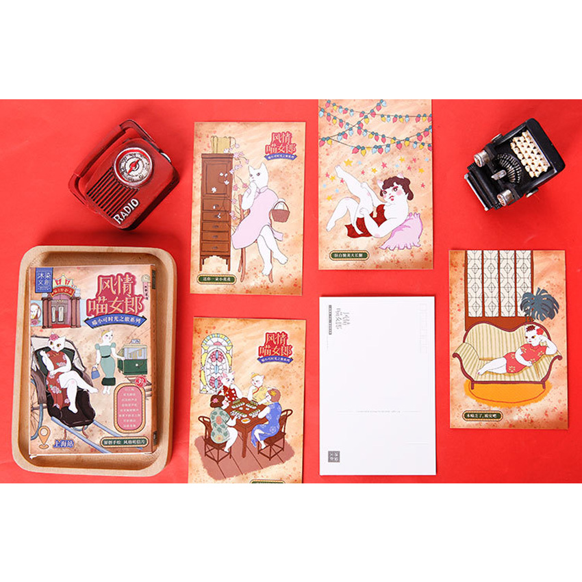 30 Pcs/lot Lovely girl Cat style Greeting Card Postcard Birthday Gift Set Message