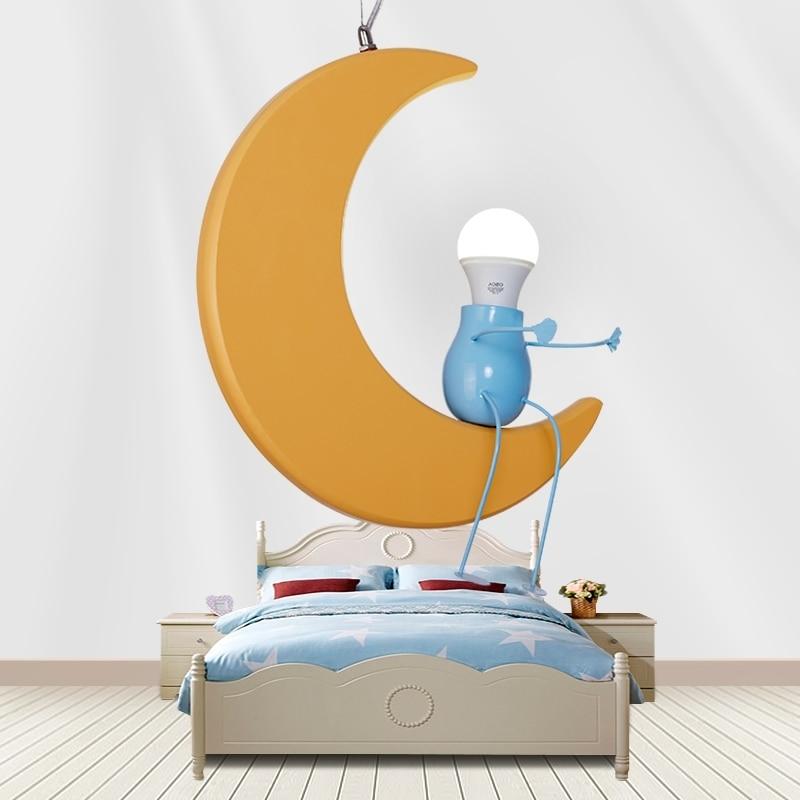Children lamp Moon Pendant lights cartoon children room bedroom lamp boy baby restaurant lamp baby room pendant lamps ZA ET68