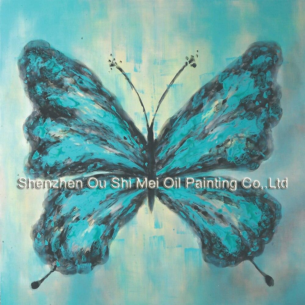 Ručně malované plátno Olejomalby Abstraktní Moderní Domácí Dekorace Blue Butterfly Painting Wall Art - Obrázkek zdarma pro Living Room Painting
