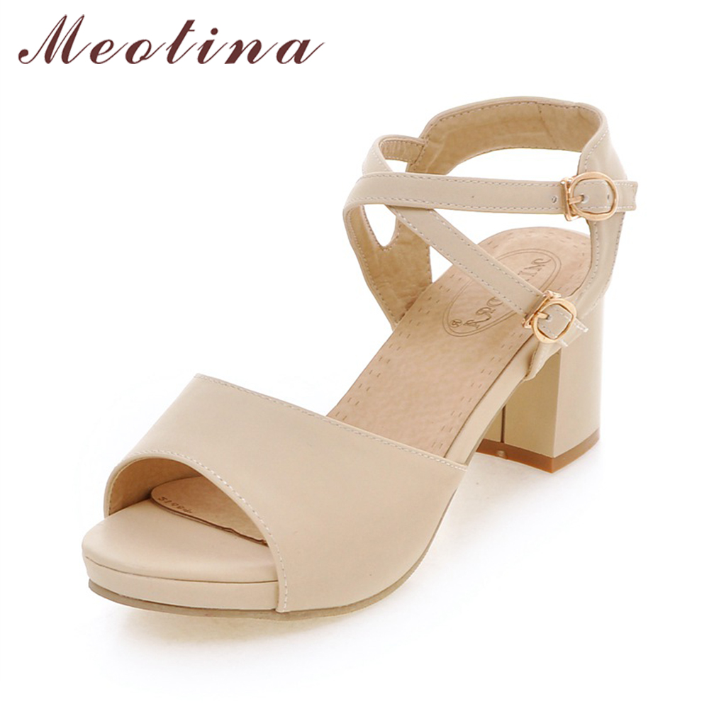 Meotina Women Shoes Sandals Platform Ankle Strap Shoes Thick High Heels Sandals Ladies Causal Sandals Beige Pink Big Size 42 43 meotina shoes women summer shoes gladiator sandals high heels sandals open toe platform ladies shoes beige white big size 9 43
