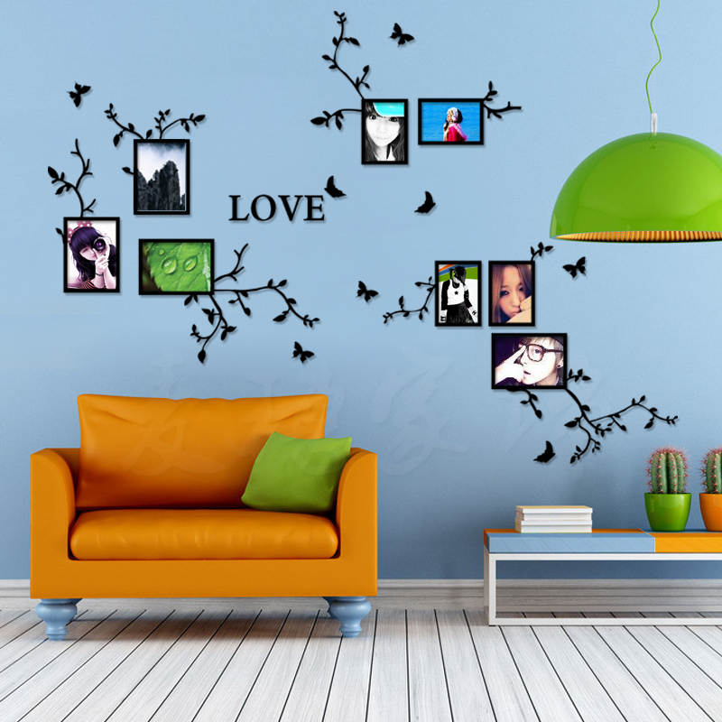 3d stereo acrylic crystal photo frame wall stickers Living room backdrop bedroom Photo Wall decoration
