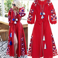 2017 women's retro style embroidery long maxi dress vintage national style hippie boho loose long dress long Sleeve fall dresses