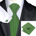 C-1051 Lazo Para Hombre Verde Negro de La Novedad de Seda Jacquard Corbatas Hanky Gemelos Conjunto de Boda de Negocios Corbata Para Los Hombres