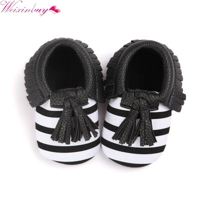 Детские милая обувь для малышей унисекс Обувь для девочек Обувь для мальчиков из мягкой искусственной кожи с кисточками Мокасины