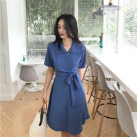 2018 Lato Kobiet Krótki Rękaw Jednolity Kolor Chic Moda koszula Sukienka Turn Down Collar Koreański Styl Vintage, Krótka Sukienka Bangage