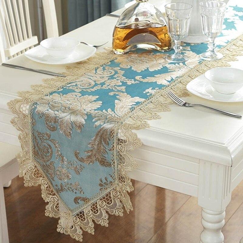 Синяя вышивка настольная дорожка элегантная столовая посуда с кружевным рисунком для столовой, ресторана, кафе, свадебной вечеринки, праздника, украшения питания P16 Настольные дорожки      АлиЭкспресс
