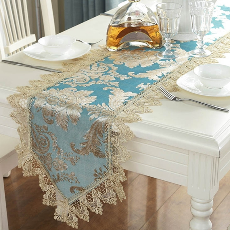 Elegant Tableware For Dining Rooms With Style: Blue Embroidery Table Runner Elegant Lace Tableware For