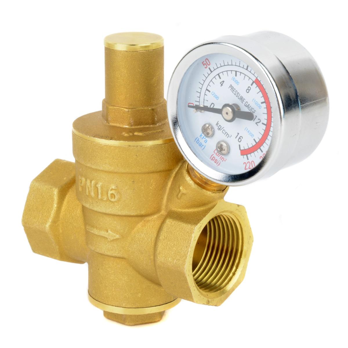 "1//4/"" In Line Air Regulator w// Pressure Gauge Paint Gun Tool Control Brass"
