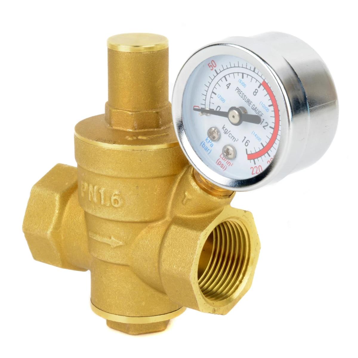 DN20 Adjustable Brass Water Pressure Regulator Pressure Reducing Valve with Gauge Meter