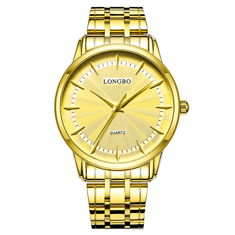 LONGBO Quartz Watch Lovers Watches Women Men Couple Analog Watches Leather Wristwatches Fashion Casual Watches Gold 1/pcs 80271
