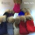 Bebê outono inverno Chapéu gorro com pom pom Pele Real crianças gorros para 1-8 anos de idade Legal moda Crochet Crianças Chapéus De Malha