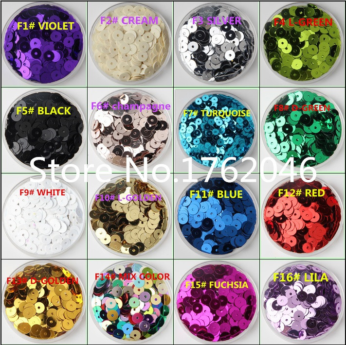 30g(2500pcs) Silver-Base 16 colors 6mm Flat round loose sequins Paillettes sewing Wedding craft Good quality Free Shipping