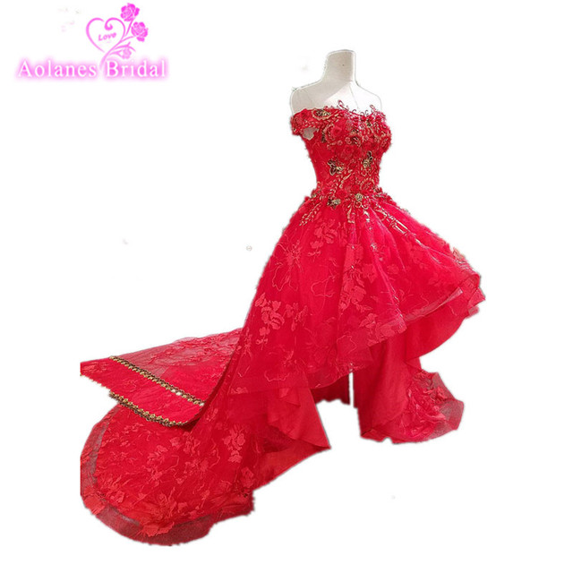 Red Lace Sleeveless Arabic High Low Long Train Prom Dresses 2017 New Applique Beaded Tulle Custom Made Hi lo Evening Dress