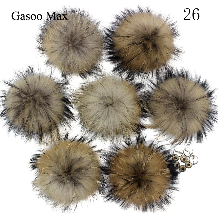 5pcs/ Lot DIY 13-14cm 15cm Raccoon And Fox Fur Pom Poms Fur Balls For Knitted Hat Cap Beanies  And Scarf Real Fur Pompoms