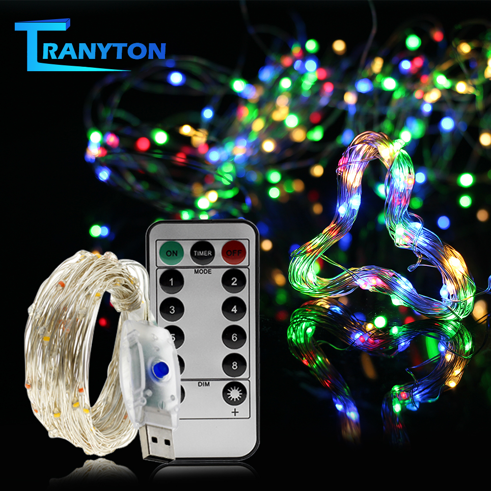 USB LED String <font><b>Lights</b></font> Colorful New Year Garland Copper Wire String Fairy <font><b>Light</b></font> <font><b>for</b></font> Indoor Outdoor Wedding Christmas <font><b>Decoration</b></font> image