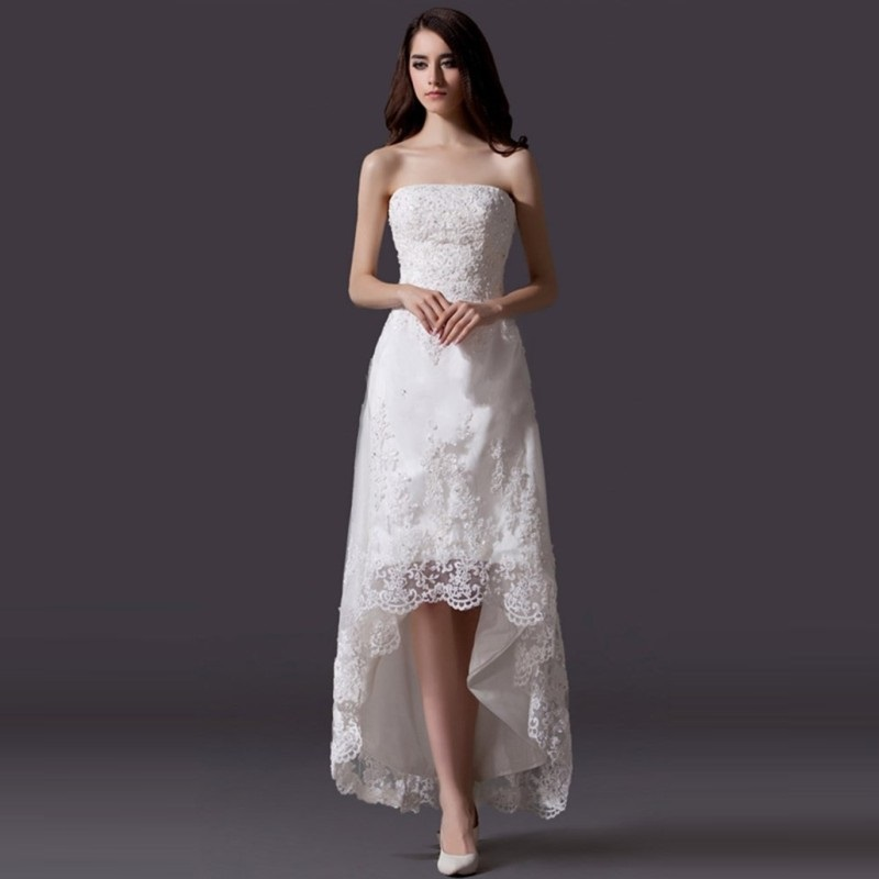 2015 Vintage Lace Wedding Dresses Beaded White Strapless