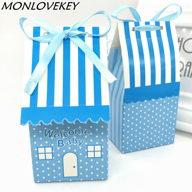 Cute Theme Pink Blue Stripe House Candy Box Carnival Supplies Kids First Birthday Gift Baby Shower Decoration Xmas