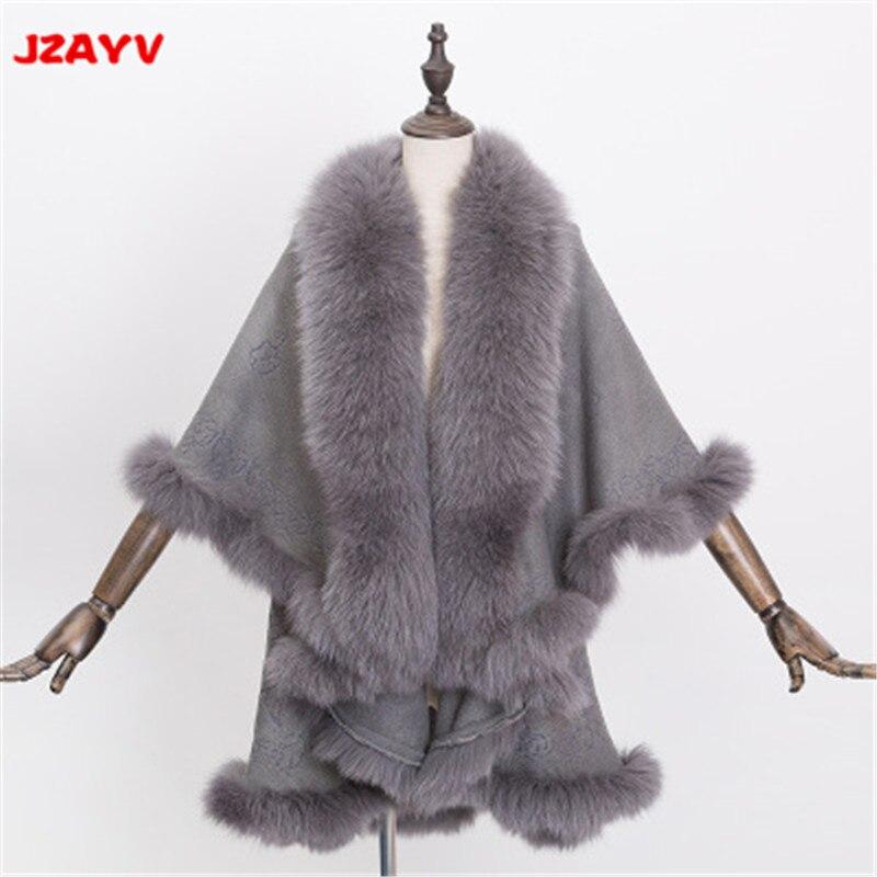 2018 Для женщин Роскошные пальто с мехом лисы для Женщины Теплый кардиган волосатые пальто плюс Размеры пончо вязаный кардиган плащ пальто