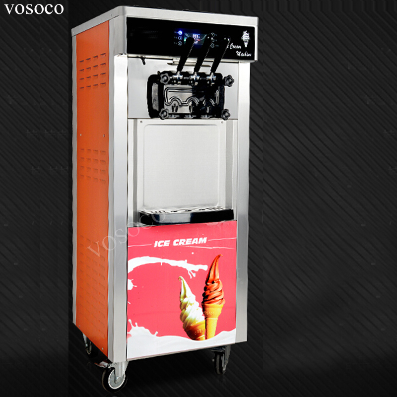 VOSOCO Ice cream machine Commercial soft ice cream maker automatic color sweet egg 2200W stainless steel ice cream machine 28L/H