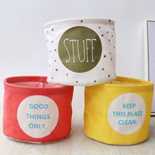 Cotton Linen Desktop Storage Basket Sundries Box Small Cute Table Space-Saving Bags Organizer