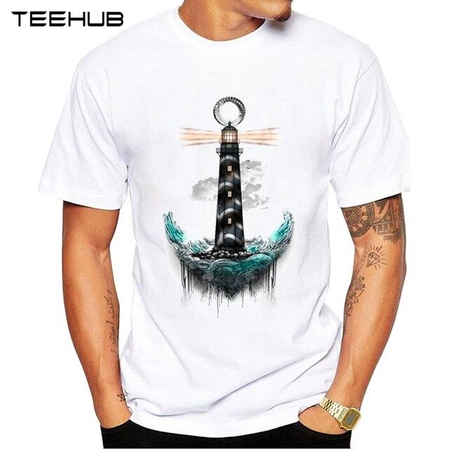 TEEHUB Cổ Điển Neo Người Đàn Ông T-Shirt Hipster Các Cách Thiết Kế Ngắn Tay Áo Tops Geek Phong Cách Đàn Ông của Tee Áo Sơ Mi