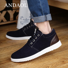 ANDAOL Mens Leather Casual Shoes Top Quality Suede Leathe Non-Slip Business Office New Fashion Lace-Up Driving