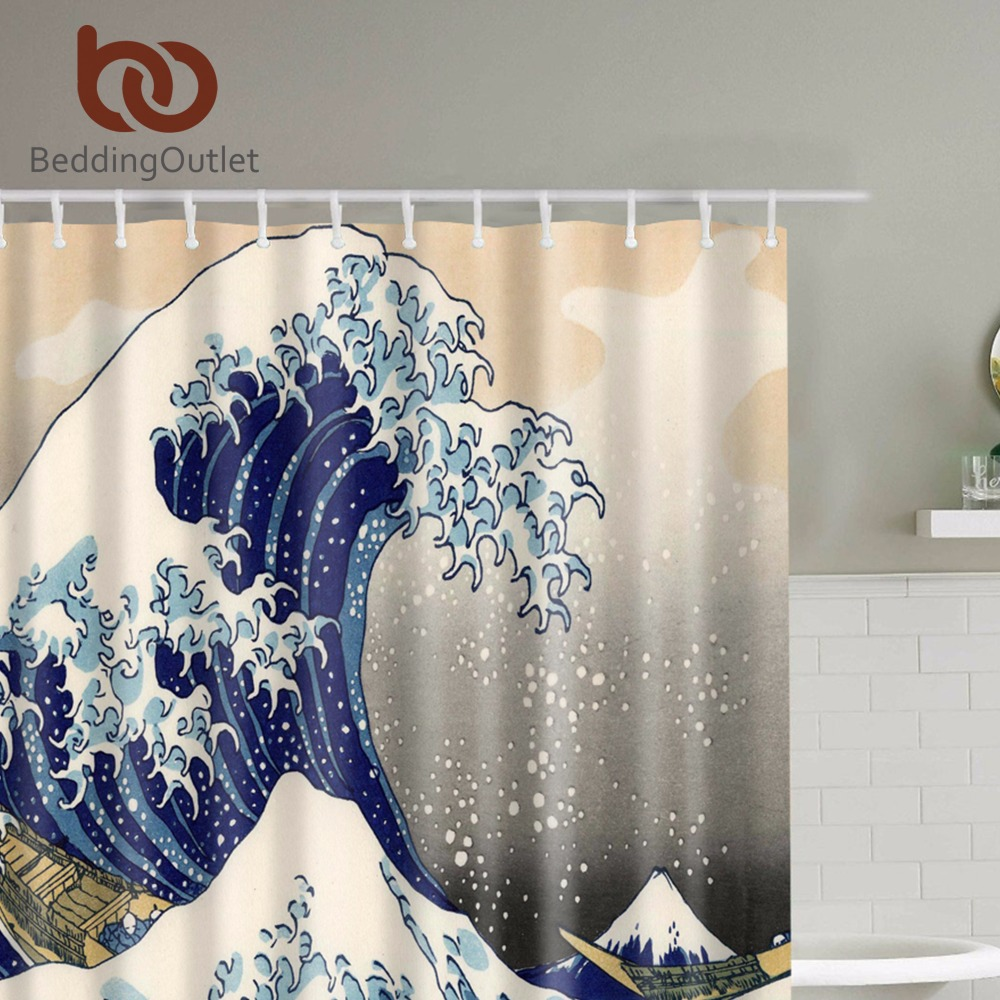classic japanese the great wave off kanagawa shower curtain with sea wave pattern waterproof bathroom