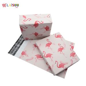 Image 4 - 100 шт 25,5*33 см 10*13 дюймов модные розовые Фламинго шаблон поли почтовые пакеты самопечать пластиковые почтовые конверты