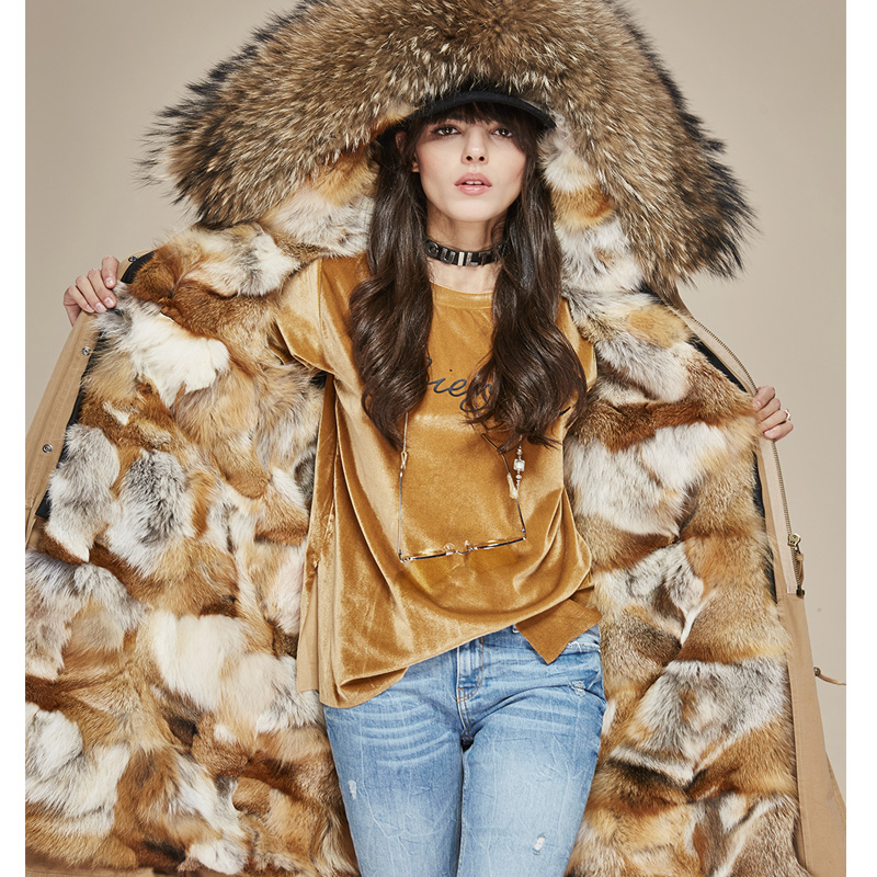 Jott  Fashion Female Luxurious Real Fox Fur Lining X-Long Parka Large Raccoon Fur Hooded Military Women Winter Coat Women Jacket 2017 winter new clothes to overcome the coat of women in the long reed rabbit hair fur fur coat fox raccoon fur collar