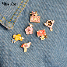 Nona Zoe 6 pcs/set Card Captor Sakura KERO Clow Kartu Sayap Bintang Tongkat Burung Bros Denim Jaket Pin Badge Animasi perhiasan(China)