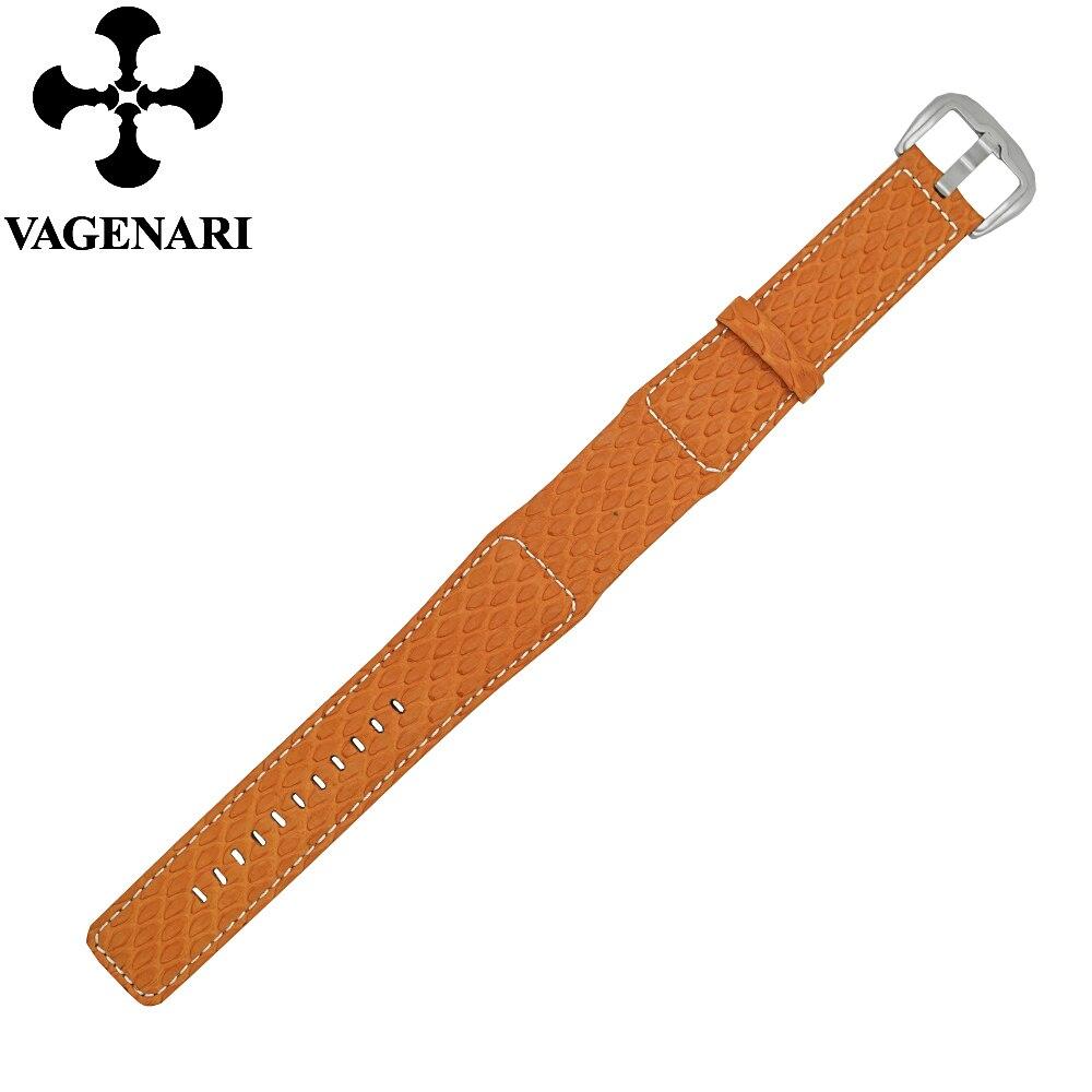 D-12 Fashion Orange Fish Skin Leather Watch Strap 24/22mm Watchband d 32 fashion purple red fish skin leather watch strap 24 22mm watchband with buckle