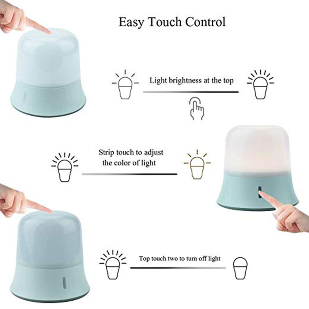 Baby Night Light Lamp LED Portable LED Nighlamp Touch Switch Dimming Waterproof Camping Light Nursing Read Bedroom Luminaria (warm and white light)