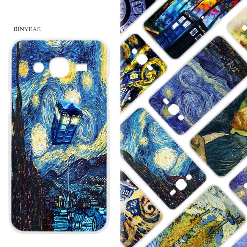 BINYEAE Van Gogh Tardis Harten Weißen Fallabdeckung Shell für Samsung J2 J3...