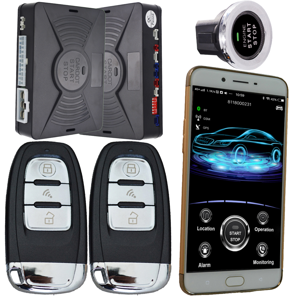2019 bluetooth pke auto lock or unlock car door with gsm&gps net remote starter car security system cardot brand support