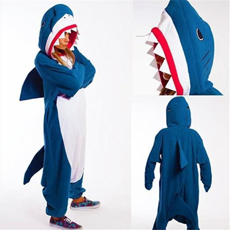 Animal Pajamas Cosplay Costume Blue Shark Pajamas Homesuit Unisex Pajama Party Apparel
