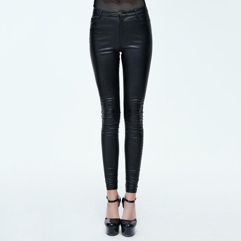 Diable mode PU cuir femmes été pantalon Steampunk solide noir élastique taille extensible Long Leggings vente chaude