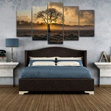 Canvas Painting Vintage Wall Art Frame Printed Panel Poster Sunrise Tree Landscape