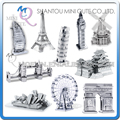Mini Qute Piece Fun 3D world architecture famous building Metal Puzzle adult Eiffel Tower Big Ben DIY models educational toy