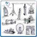 Mini Qute Pieza de la Diversión 3D de adultos Rompecabezas famoso edificio de arquitectura del mundo de Metal Torre Eiffel Big Ben DIY modelos de juguetes educativos