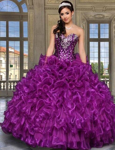 2017 querida roxo vestidos de baile quinceanera vestidos de organza baratos frisada masquerade vestidos sweet 16 vestidos vestido de 15 años