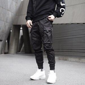 Image 5 - 男性リボン色ブロック黒ポケット貨物パンツ 2020 ハーレムジョギング原宿 Sweatpant ヒップホップズボン