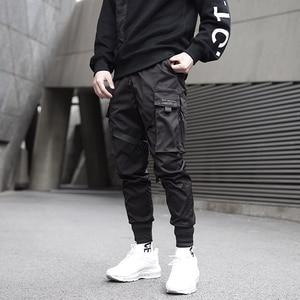 Image 5 - Men Ribbons Color Block Black Pocket Cargo Pants 2020 Harem Joggers Harajuku Sweatpant Hip Hop Trousers