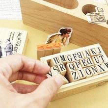 4/набор/партия милый diy Английский деревянный штамп Алфавит