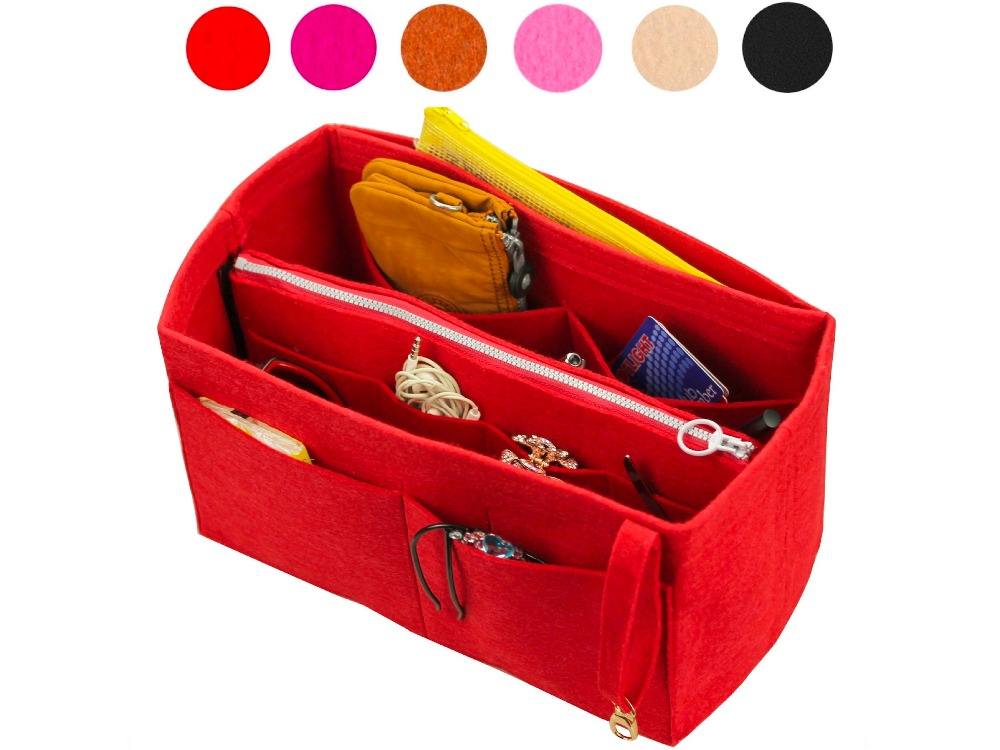 Customizable Felt Tote Organizer (w/ Detachable Zipper Bag) Neverfull MM GM PM Speedy 30 25 35 40 Purse Insert Diaper Bag