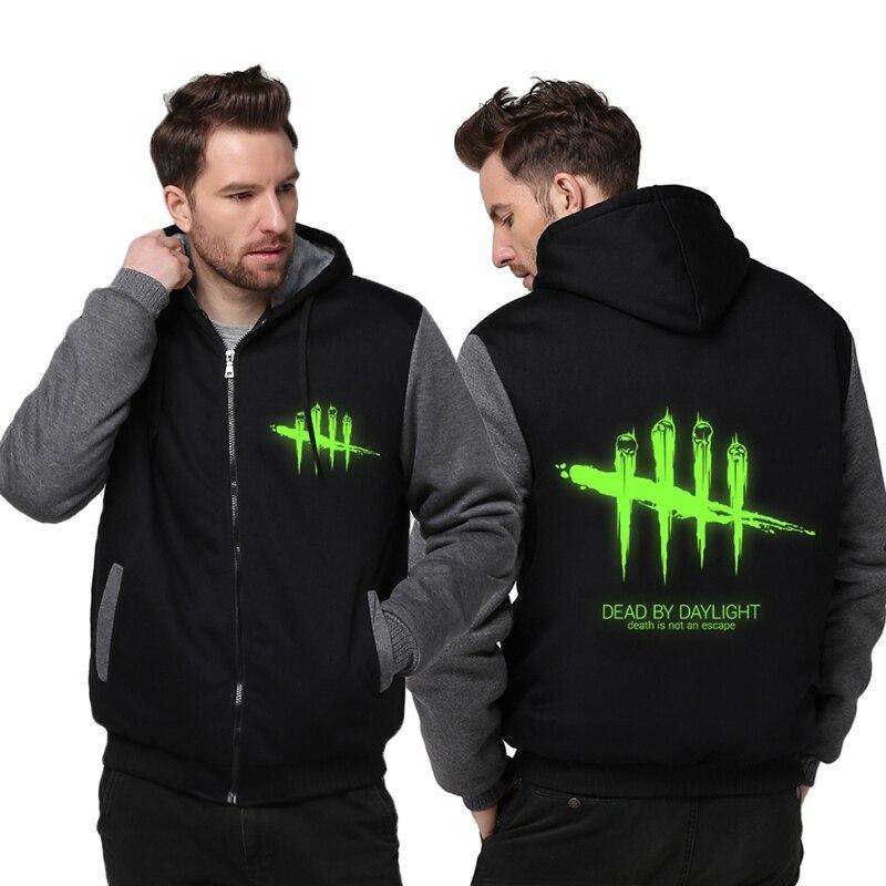 Бесплатная доставка размер США Для мужчин игры погибших при дневном свете печати балахон световой куртка на молнии утепленная куртка толст...